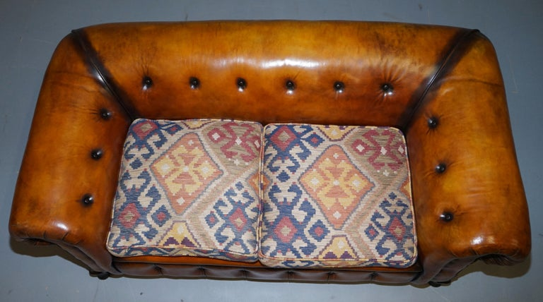 Pair of Restored Victorian Gentleman Club Chesterfield Leather Sofas Kilim Seats For Sale 8