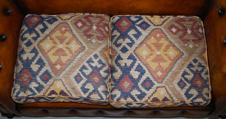 Pair of Restored Victorian Gentleman Club Chesterfield Leather Sofas Kilim Seats For Sale 9