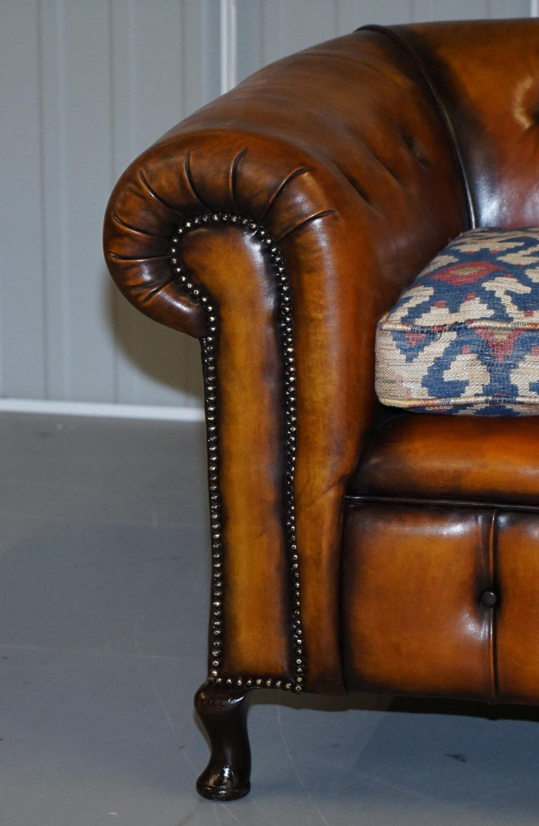 Pair of Restored Victorian Gentleman Club Chesterfield Leather Sofas Kilim Seats For Sale 10