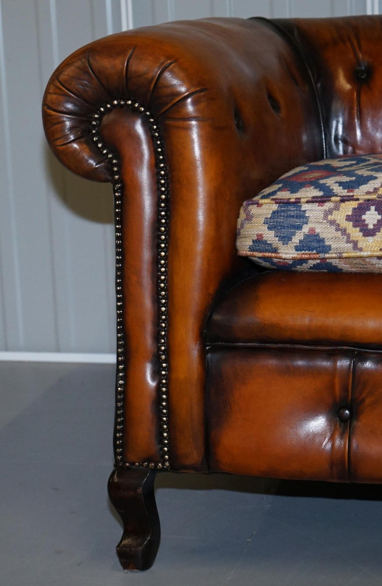 Pair of Restored Victorian Gentleman Club Chesterfield Leather Sofas Kilim Seats For Sale 2