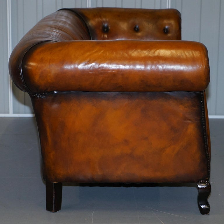 Pair of Restored Victorian Gentleman Club Chesterfield Leather Sofas Kilim Seats For Sale 3
