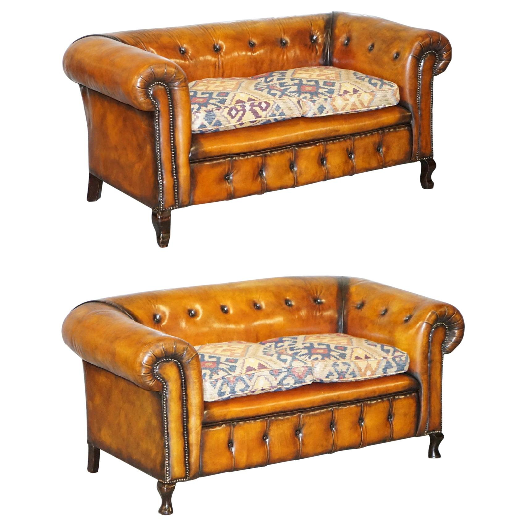 Pair of Restored Victorian Gentleman Club Chesterfield Leather Sofas Kilim Seats