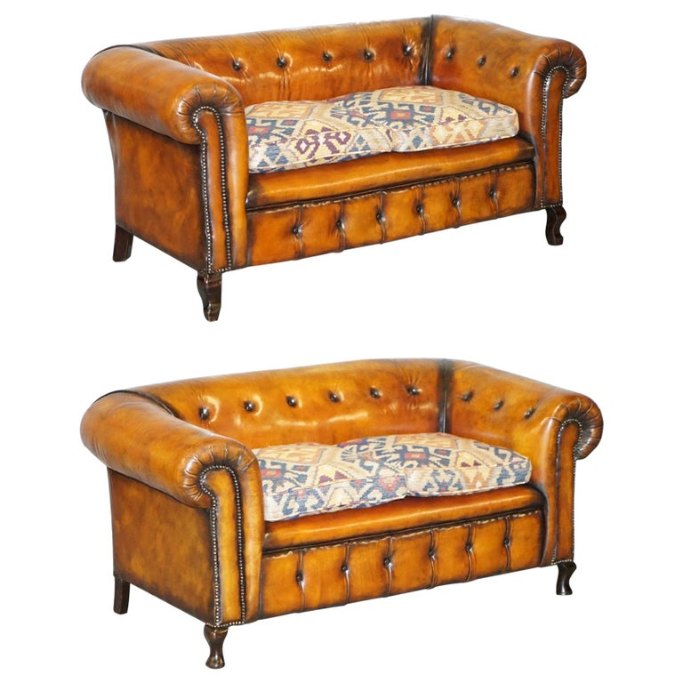 Pair of Restored Victorian Gentleman Club Chesterfield Leather Sofas Kilim Seats For Sale