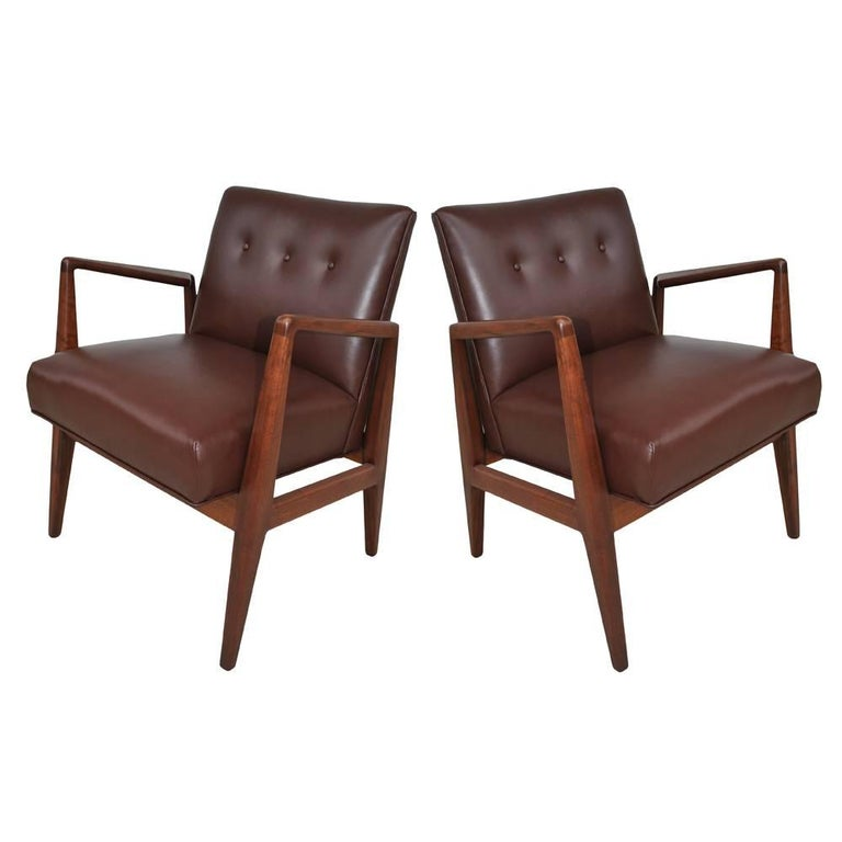 Pair of Restored Vintage Midcentury Jens Risom Lounge Chairs 'MR15330'
