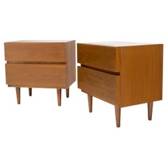 Pair of Restored Walnut Block Front Two Drawers End Tables Night Stands