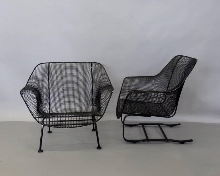 American Pair of Restored Woodard Large Wrought Iron Lounge Chairs For Sale