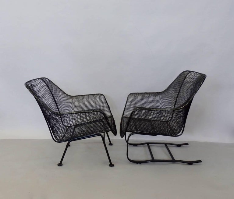 Powder-Coated Pair of Restored Woodard Large Wrought Iron Lounge Chairs For Sale