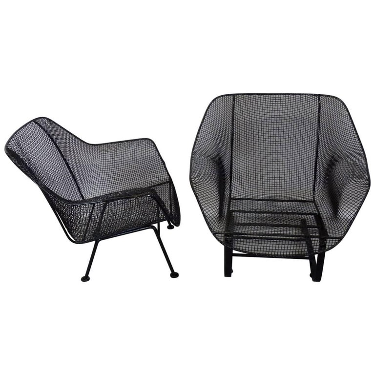 Pair of Restored Woodard Large Wrought Iron Lounge Chairs For Sale