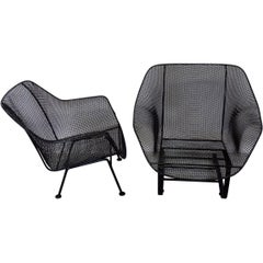 Pair of Restored Woodard Large Wrought Iron with Steel Mesh Seat Lounge Chairs