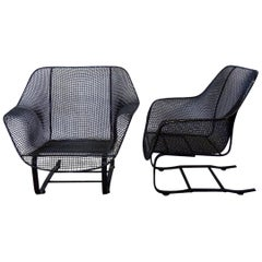 Pair of Restored Woodard Wrought Iron Cantilever Spring Base Lounge Chairs