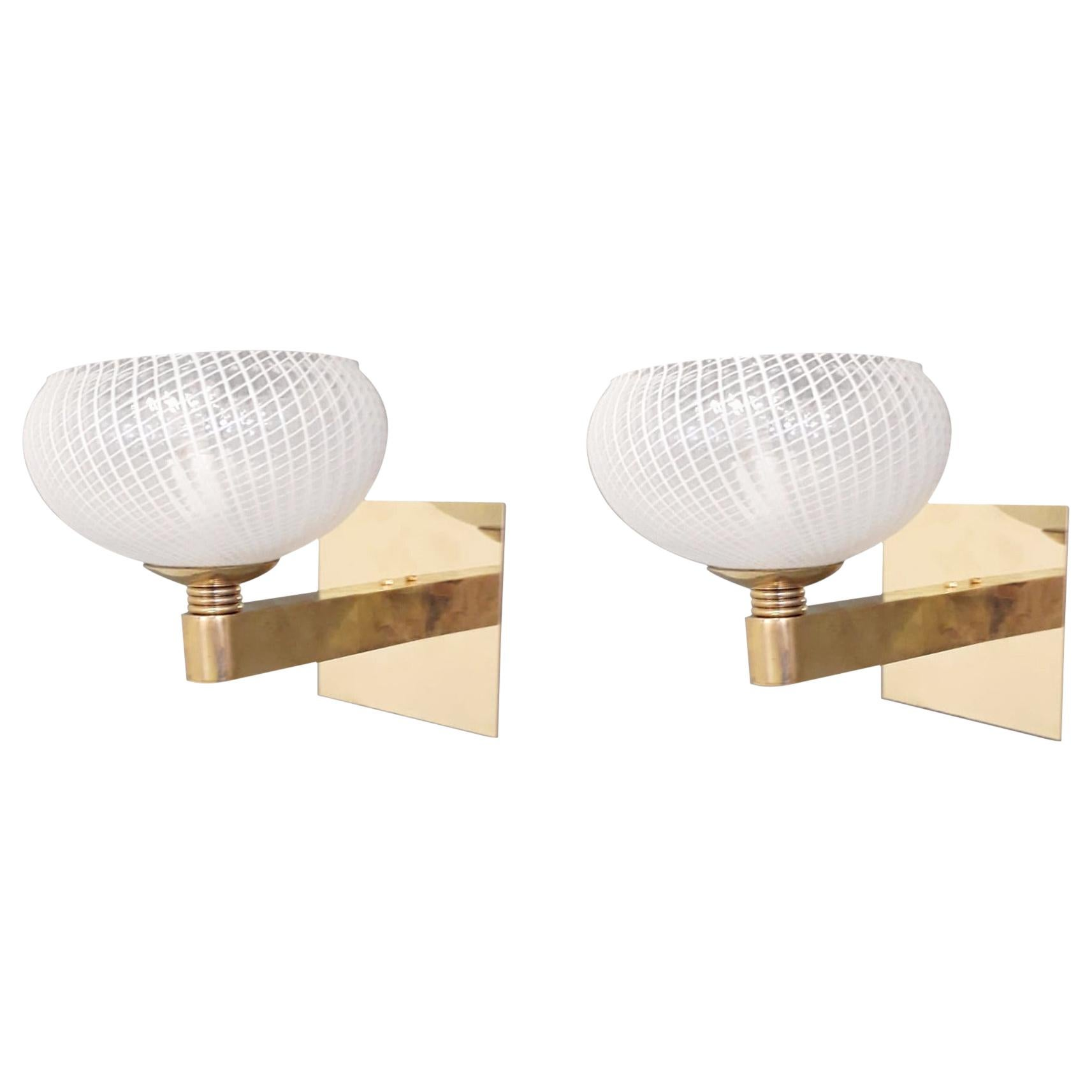 Pair of Reticello Sconces by Barovier e Toso, 2 Pairs Available