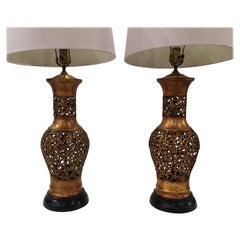 Pair of Reticulated Chinoiserie Urn Weather Gilt Table Lamps with Wood Bases