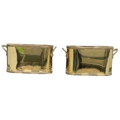 Pair of Retro Vintage Brass Wine Caddies, 20th Century