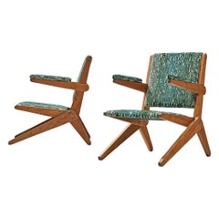 Pair of Reupholstered Brazilian Armchairs in the Style of Lina Bo Bardi