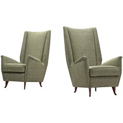 Pair of Reupholstered ISA Italian High Back Lounge Chair
