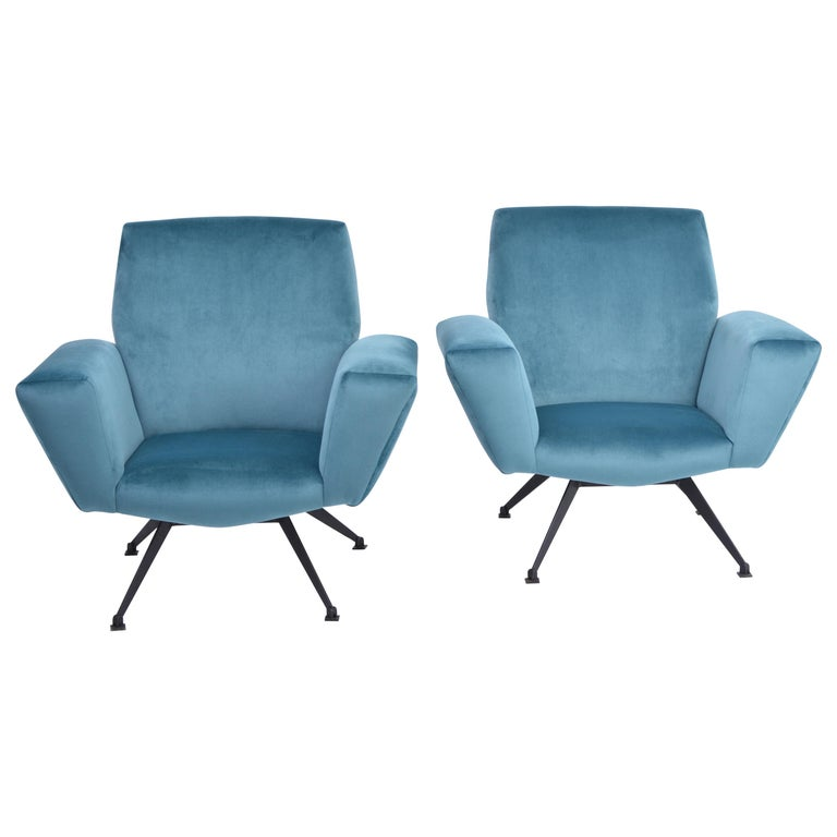 Pair of Reupholstered Teal colored Italian Lounge Chairs by Lenzi, 1950s For Sale