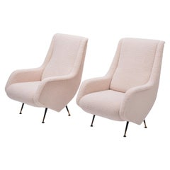 Pair of Reupholstered Mid-Century Italian Armchairs in the Style of A. Morbelli