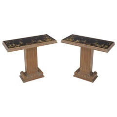Pair of Reverse Painted Glass Tops Single Pedestal Side Occasional Tables