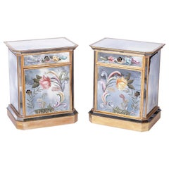 Pair of Reverse Painted Mirrored Nightstands