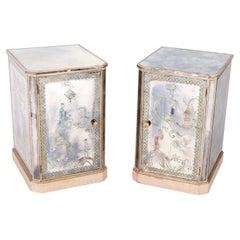 Pair of Reverse Painted or Églomisé Chinoiserie Venetian Nightstands