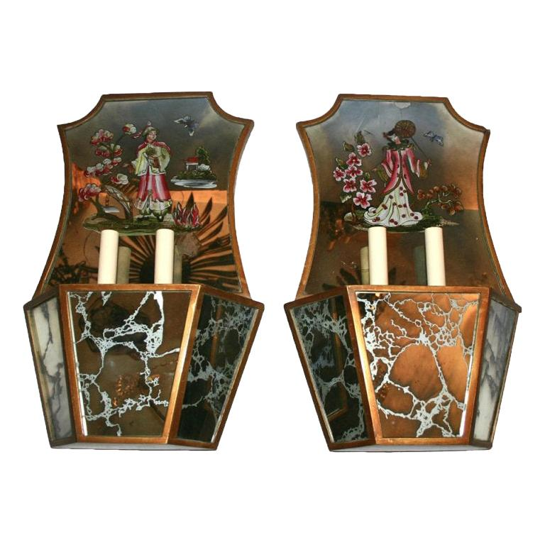 Pair of Reversed Painted Mirrored Chinoiserie Sconces