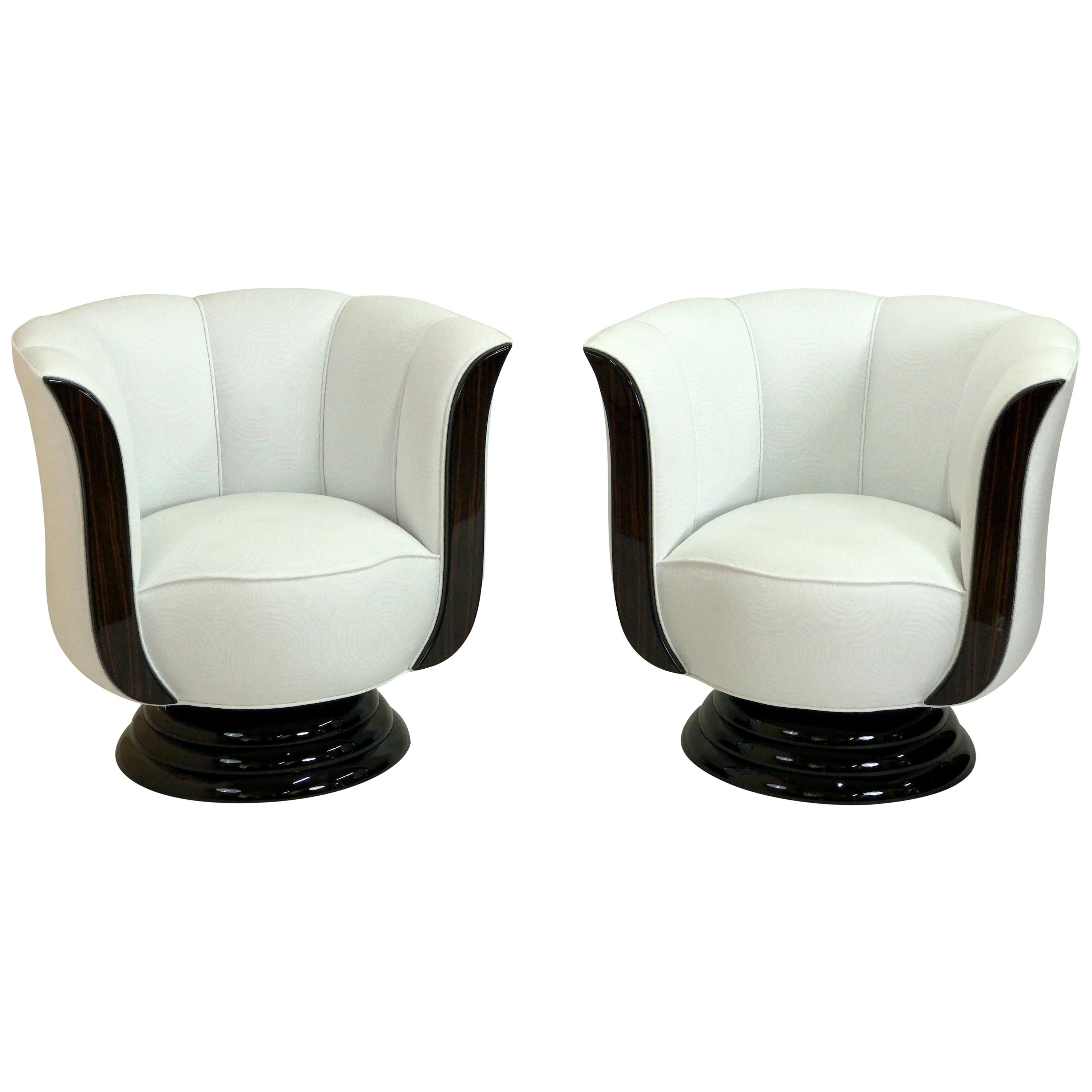 Pair of Revolving White and Macassar Art Deco Style Tulip Shaped Club Chairs