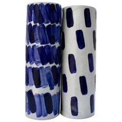 Pair of Rhythm Vases by Isabel Halley, in Pale Grey Porcelain with Cobalt Glaze
