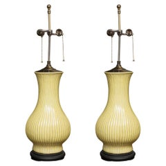 Pair of Ribbed Baluster Lamps