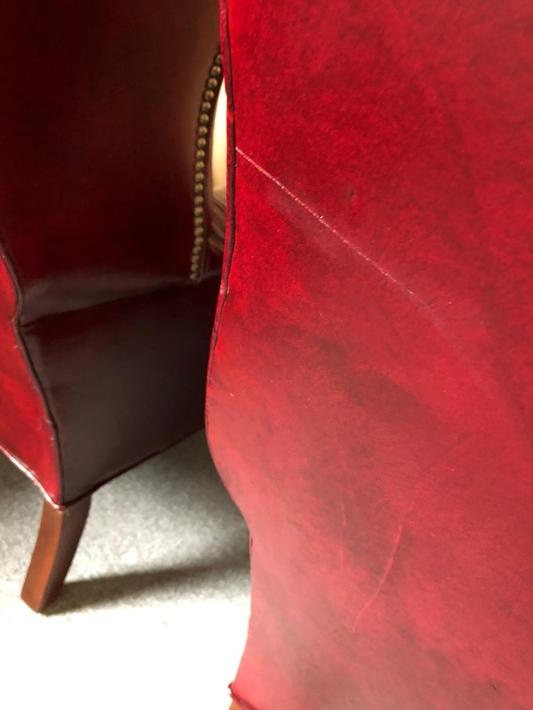 Pair Of Rich Burgundy Leather Vintage Tufted Chesterfield