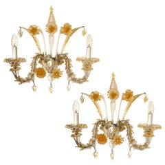 Pair of Rich Venetian Wall Sconces, Venice, Murano, circa 1960