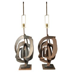 Pair of Richard Barr Brutalist Lamps for Laurel