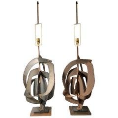 Pair of Richard Barr Brutalist Lamps for Laurel