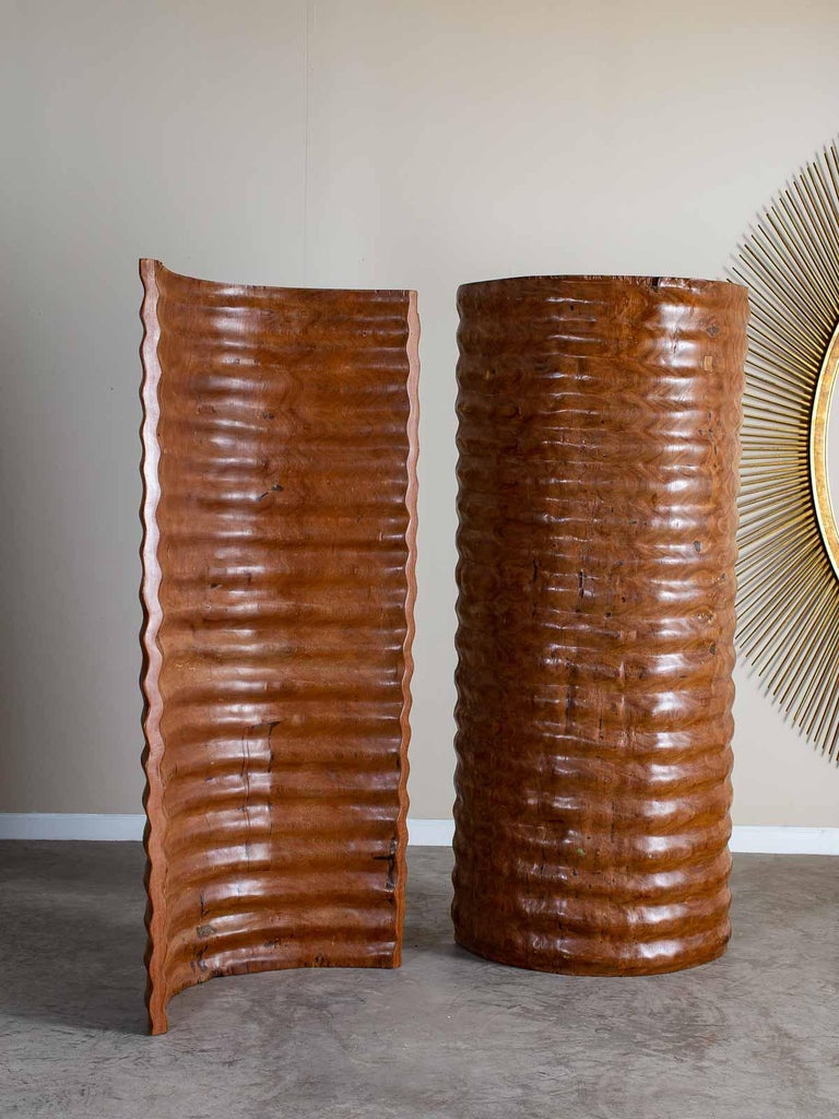 Organic Modern Pair of Richard Serra Inspired Tall Solid Teak Sculptures, circa 2000 For Sale