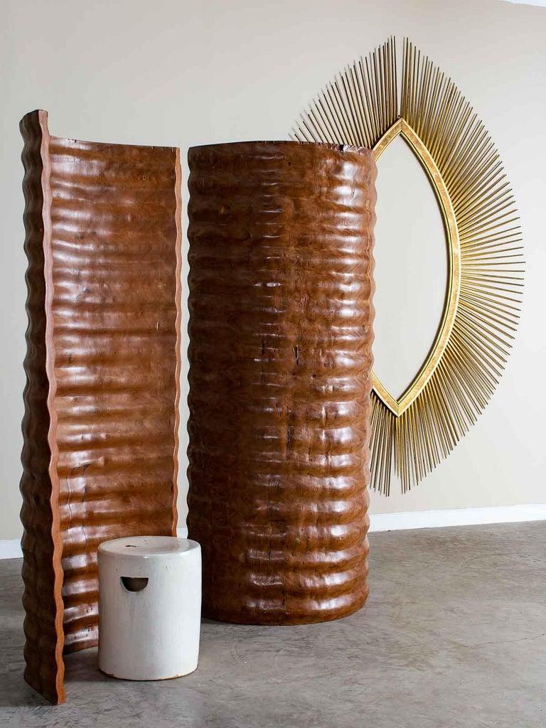 American Pair of Richard Serra Inspired Tall Solid Teak Sculptures, circa 2000 For Sale