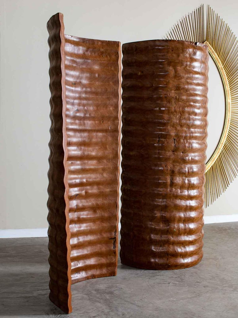 Carved Pair of Richard Serra Inspired Tall Solid Teak Sculptures, circa 2000 For Sale