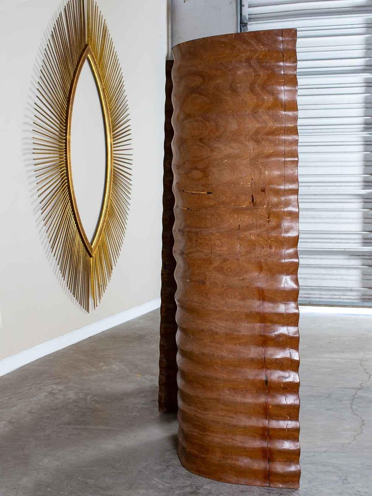 Pair of Richard Serra Inspired Tall Solid Teak Sculptures, circa 2000 In Good Condition For Sale In Houston, TX
