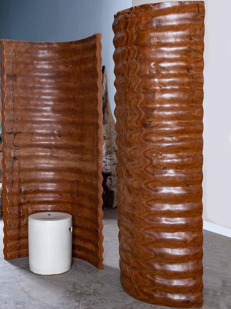 Pair of Richard Serra Inspired Tall Solid Teak Sculptures, circa 2000 For Sale 1