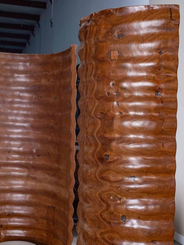Pair of Richard Serra Inspired Tall Solid Teak Sculptures, circa 2000 For Sale 2