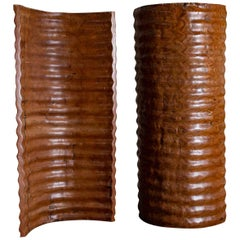 Pair of Richard Serra Inspired Tall Solid Teak Sculptures, circa 2000