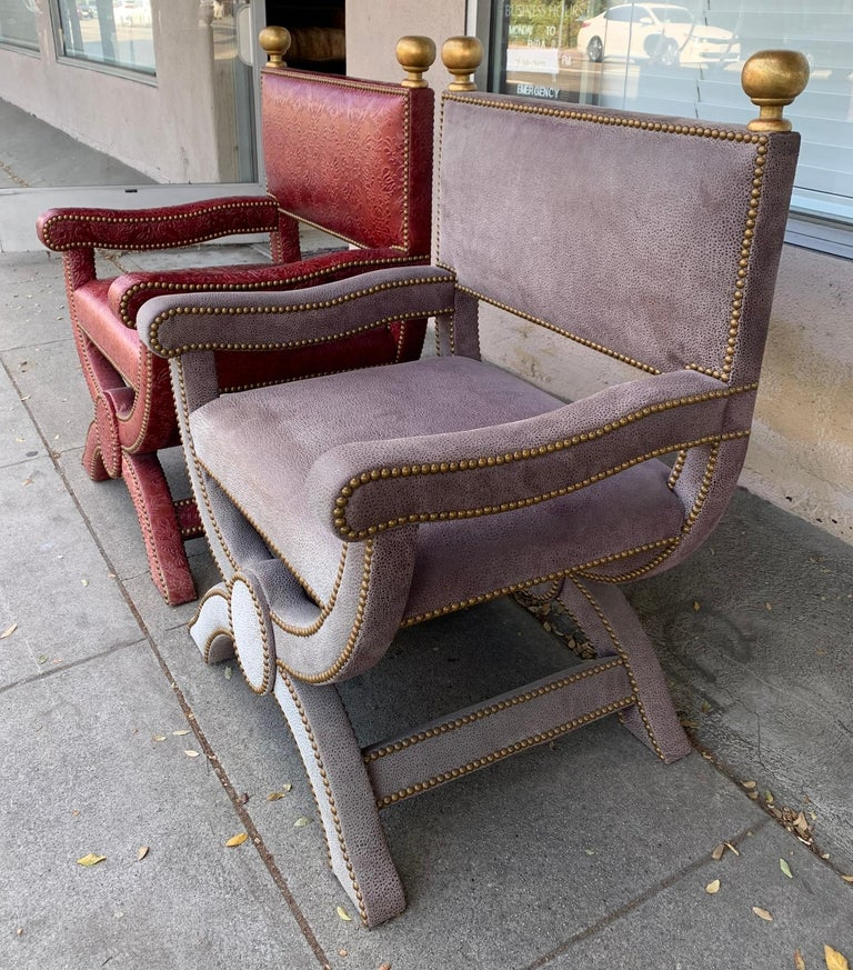 Beautiful pair of armchairs upholstered in embossed leather designed and manufactured by Richard Shapiro and part of the NOLA collection.