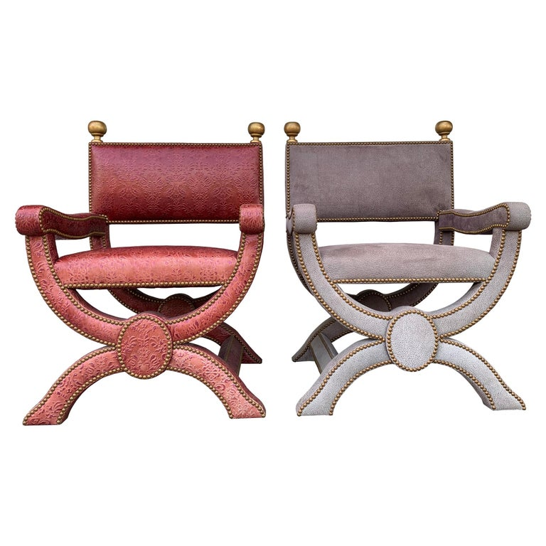 "Pair of Richard Shapiro ""Nola"" Chairs in Embossed Leather For Sale"