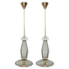 Pair of Ridged Murano Glass Pendants