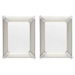 Pair of Rigadin Silver Murano Glass Mirrors