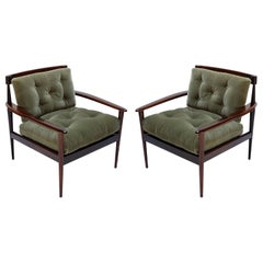 Pair of Rino Levi Brazilian 1960s Jacaranda Wood Armchairs