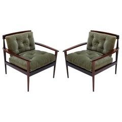 Pair of Rino Levi Brazilian 1960s Jacaranda Wood Armchairs