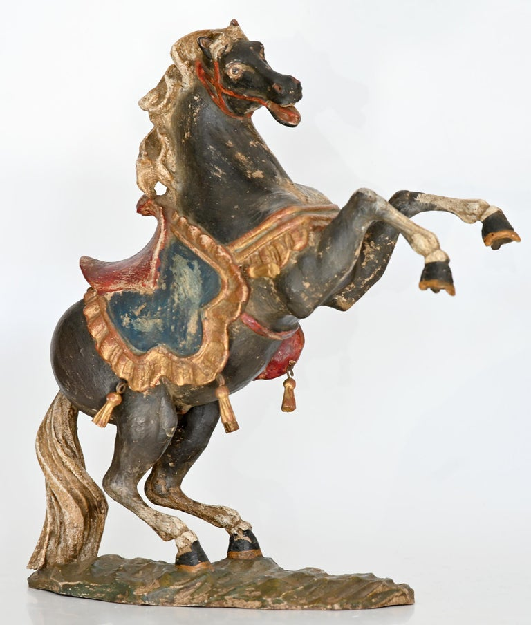 German Pair of Rising Horses, Bavaria Oberammergau circa 1930 Carved Wood, Painted