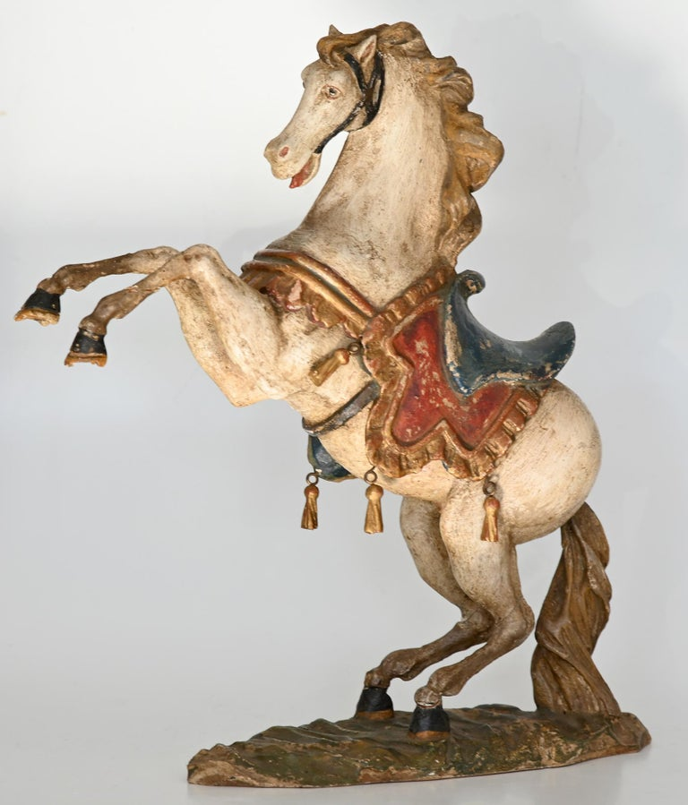 Pair of Rising Horses, Bavaria Oberammergau circa 1930 Carved Wood, Painted 1