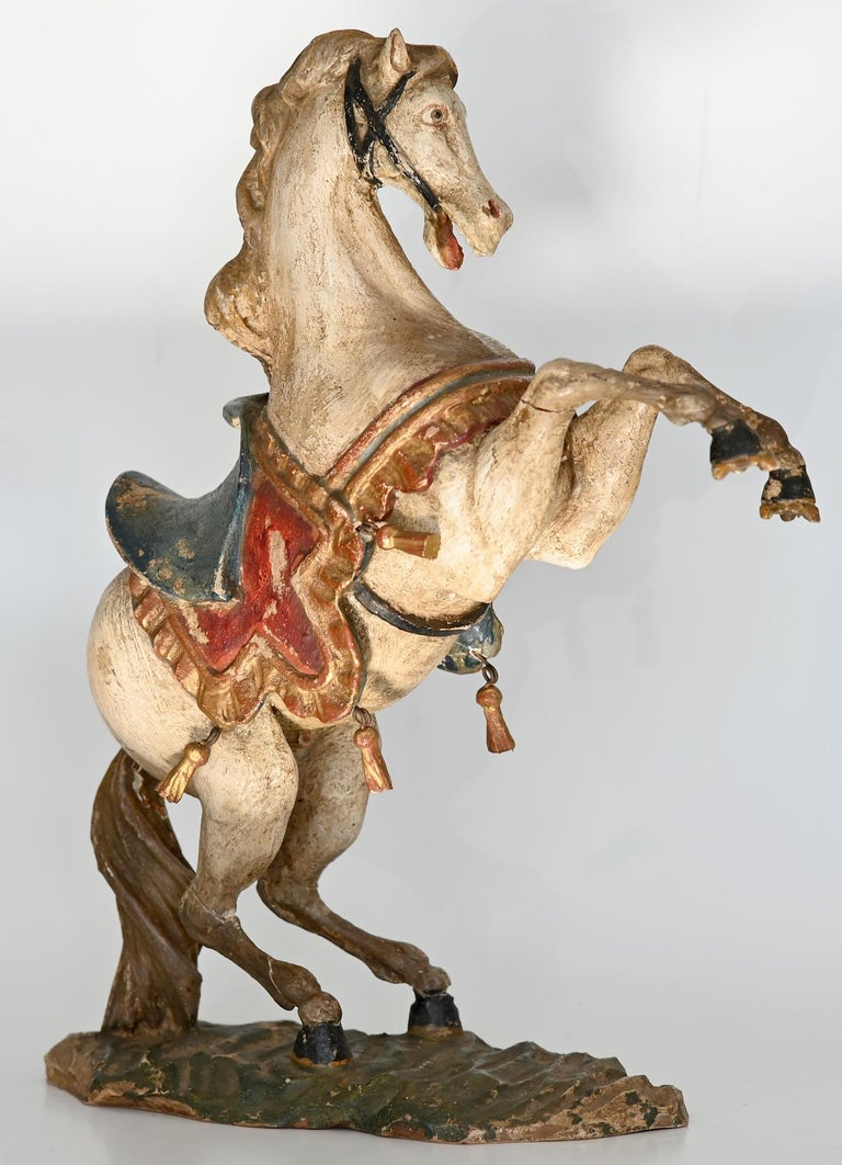 Pair of Rising Horses, Bavaria Oberammergau circa 1930 Carved Wood, Painted 2