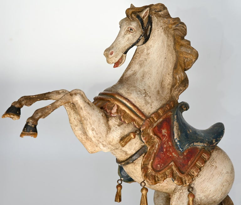 Pair of Rising Horses, Bavaria Oberammergau circa 1930 Carved Wood, Painted 3