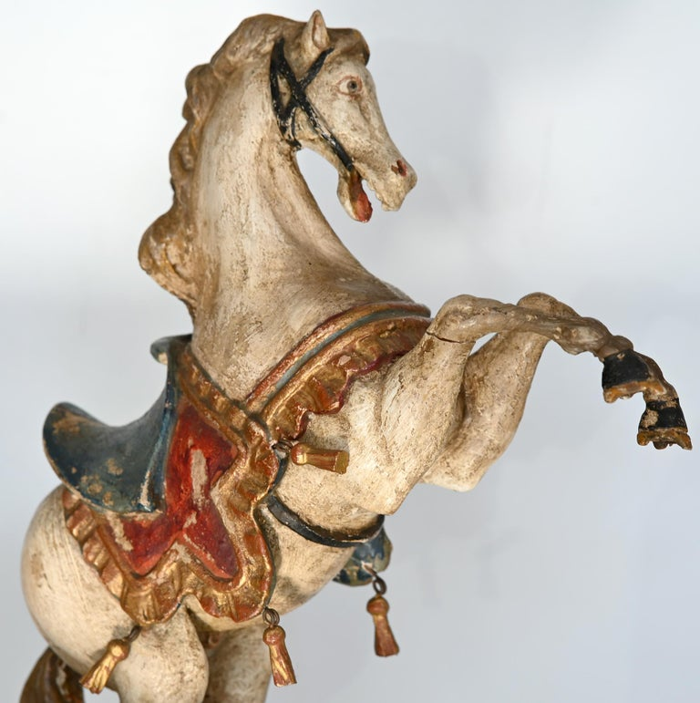 Pair of Rising Horses, Bavaria Oberammergau circa 1930 Carved Wood, Painted 4